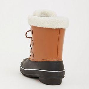 torrid Shoes - Torrid Cognac & Black Faux Leather & Rubber Boots